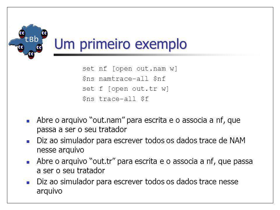 Um primeiro exemplo set nf [open out.nam w] $ns namtrace-all $nf set f [open out.tr w] $ns trace-all $f Abre o arquivo out.nam para escrita e o associa a nf, que passa a ser o seu tratador Diz ao simulador para escrever todos os dados trace de NAM nesse arquivo Abre o arquivo out.tr para escrita e o associa a nf, que passa a ser o seu tratador Diz ao simulador para escrever todos os dados trace nesse arquivo