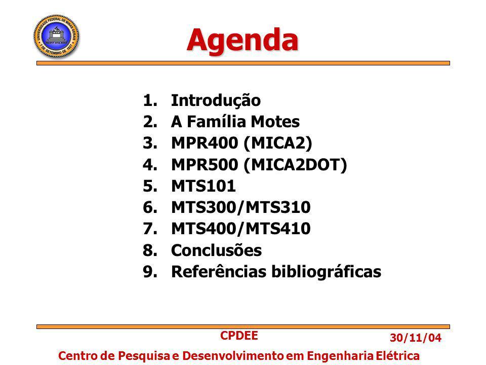 30/11/04 CPDEE Centro de Pesquisa e Desenvolvimento em Engenharia Elétrica Agenda 1.Introdução 2.A Família Motes 3.MPR400 (MICA2) 4.MPR500 (MICA2DOT) 5.MTS101 6.MTS300/MTS310 7.MTS400/MTS410 8.Conclusões 9.Referências bibliográficas