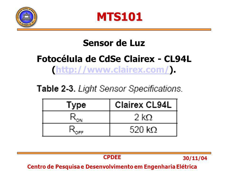 30/11/04 CPDEE Centro de Pesquisa e Desenvolvimento em Engenharia Elétrica MTS101 Sensor de Luz Fotocélula de CdSe Clairex - CL94L (http://www.clairex.com/).http://www.clairex.com/