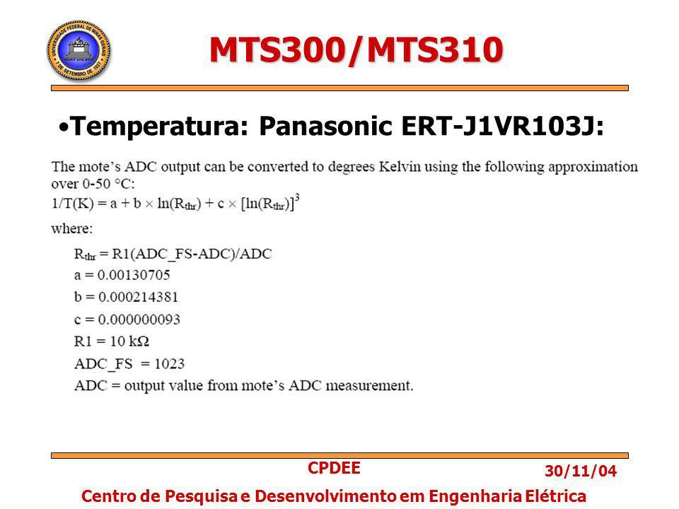 30/11/04 CPDEE Centro de Pesquisa e Desenvolvimento em Engenharia Elétrica MTS300/MTS310 Temperatura: Panasonic ERT-J1VR103J: