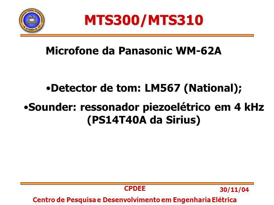 30/11/04 CPDEE Centro de Pesquisa e Desenvolvimento em Engenharia Elétrica MTS300/MTS310 Detector de tom: LM567 (National); Sounder: ressonador piezoelétrico em 4 kHz (PS14T40A da Sirius) Microfone da Panasonic WM-62A