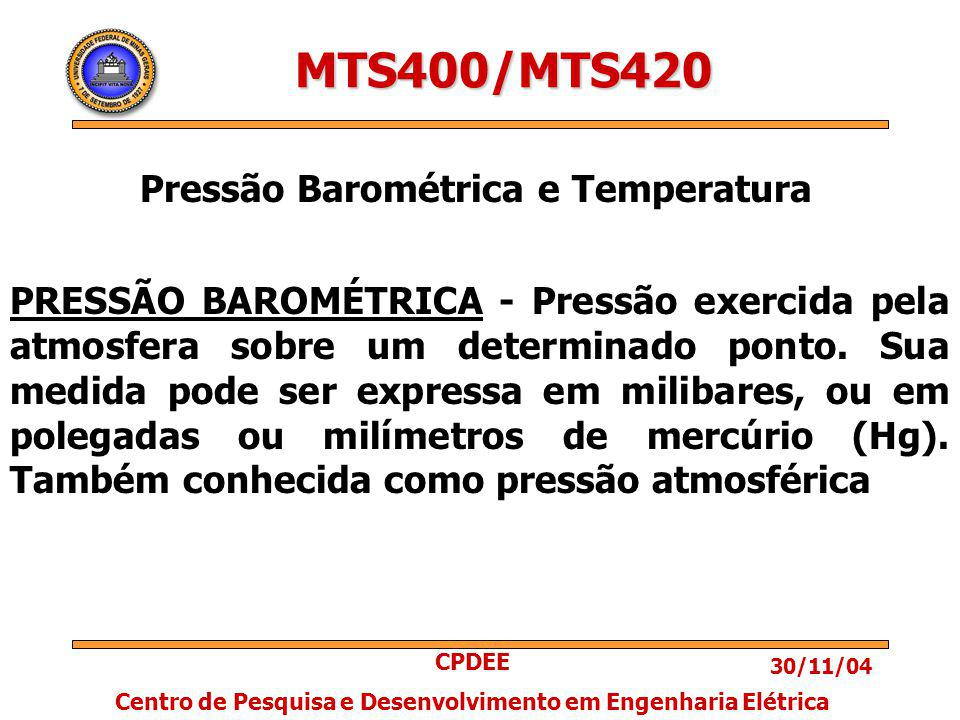 30/11/04 CPDEE Centro de Pesquisa e Desenvolvimento em Engenharia Elétrica MTS400/MTS420 Pressão Barométrica e Temperatura PRESSÃO BAROMÉTRICA - Pressão exercida pela atmosfera sobre um determinado ponto.