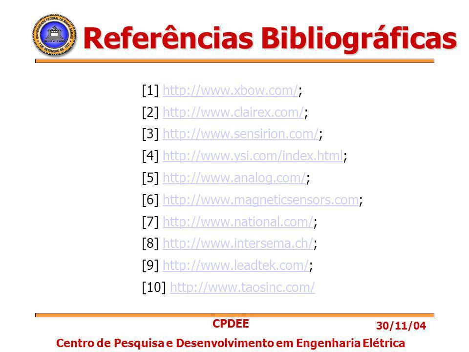 30/11/04 CPDEE Centro de Pesquisa e Desenvolvimento em Engenharia Elétrica Referências Bibliográficas [1] http://www.xbow.com/;http://www.xbow.com/ [2] http://www.clairex.com/;http://www.clairex.com/ [3] http://www.sensirion.com/;http://www.sensirion.com/ [4] http://www.ysi.com/index.html;http://www.ysi.com/index.html [5] http://www.analog.com/;http://www.analog.com/ [6] http://www.magneticsensors.com;http://www.magneticsensors.com [7] http://www.national.com/;http://www.national.com/ [8] http://www.intersema.ch/;http://www.intersema.ch/ [9] http://www.leadtek.com/;http://www.leadtek.com/ [10] http://www.taosinc.com/http://www.taosinc.com/