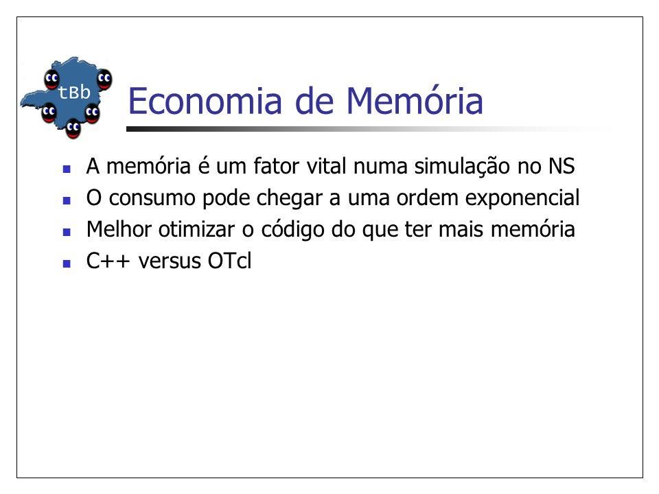 Economia de Memória A memória é um fator vital numa simulação no NS O consumo pode chegar a uma ordem exponencial Melhor otimizar o código do que ter mais memória C++ versus OTcl