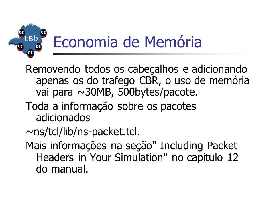 Economia de Memória Removendo todos os cabeçalhos e adicionando apenas os do trafego CBR, o uso de memória vai para ~30MB, 500bytes/pacote.