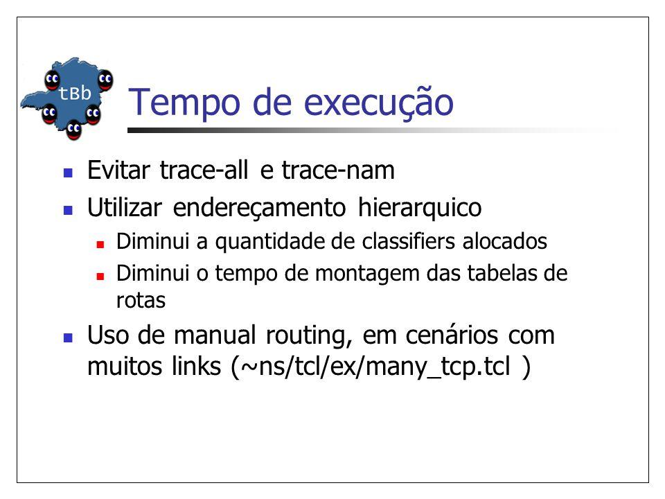 Tempo de execução Evitar trace-all e trace-nam Utilizar endereçamento hierarquico Diminui a quantidade de classifiers alocados Diminui o tempo de montagem das tabelas de rotas Uso de manual routing, em cenários com muitos links (~ns/tcl/ex/many_tcp.tcl )