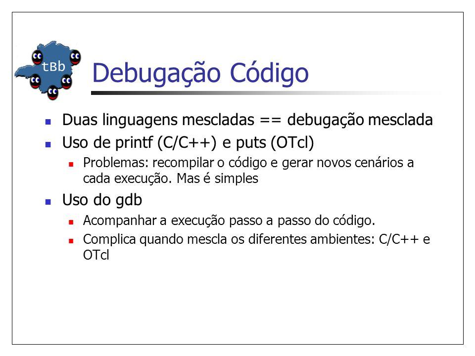 Debugação Código Duas linguagens mescladas == debugação mesclada Uso de printf (C/C++) e puts (OTcl) Problemas: recompilar o código e gerar novos cenários a cada execução.