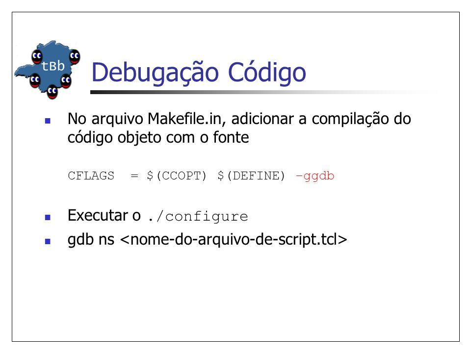 Debugação Código No arquivo Makefile.in, adicionar a compilação do código objeto com o fonte CFLAGS = $(CCOPT) $(DEFINE) –ggdb Executar o./configure gdb ns