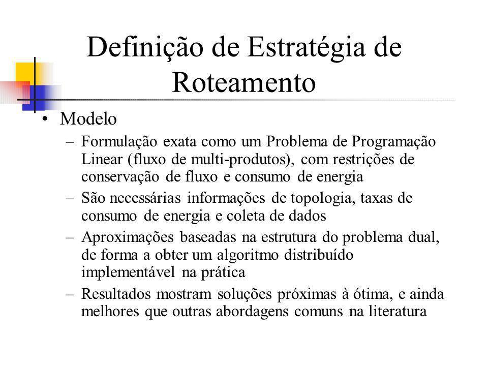 Definição de Estratégia de Roteamento Modelo –Formulação exata como um Problema de Programação Linear (fluxo de multi-produtos), com restrições de con