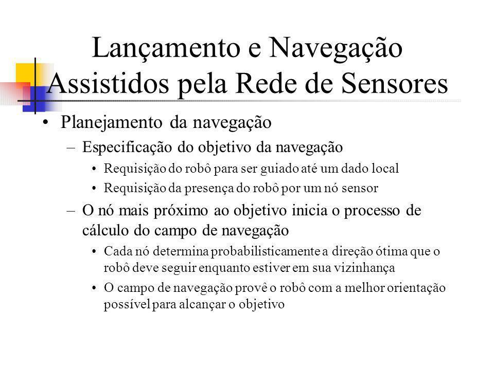 Lançamento e Navegação Assistidos pela Rede de Sensores Planejamento da navegação –Especificação do objetivo da navegação Requisição do robô para ser