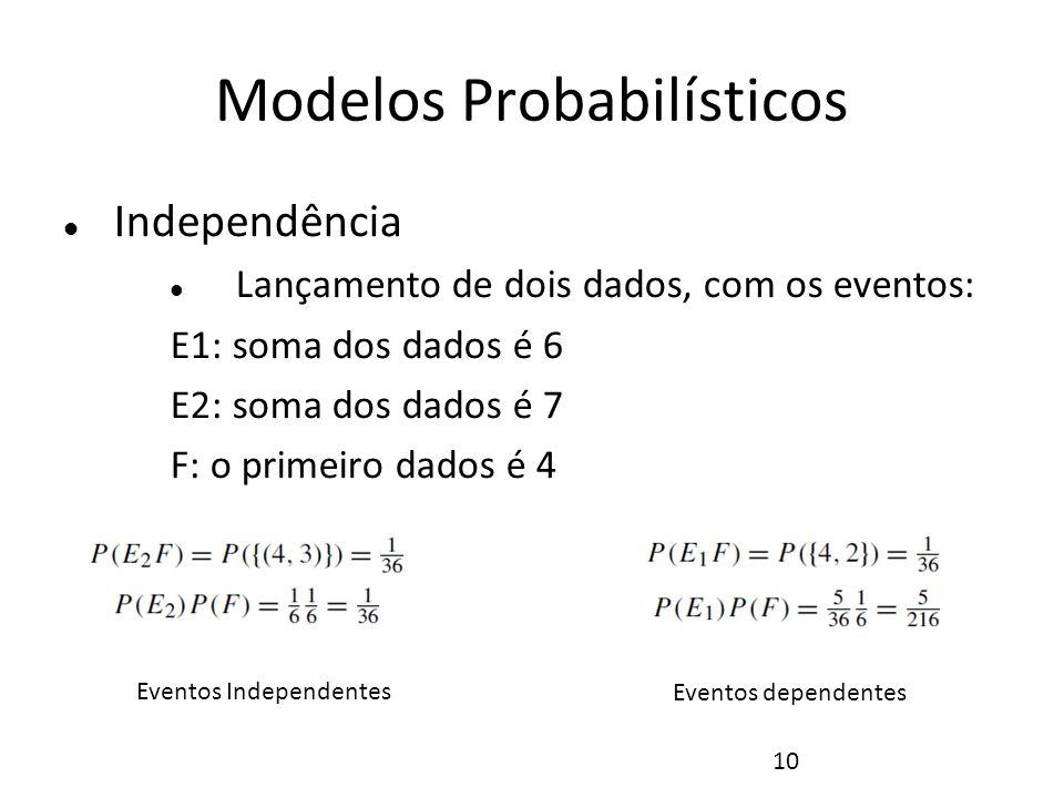 10 Modelos Probabilísticos Independência Lançamento de dois dados, com os eventos: E1: soma dos dados é 6 E2: soma dos dados é 7 F: o primeiro dados é
