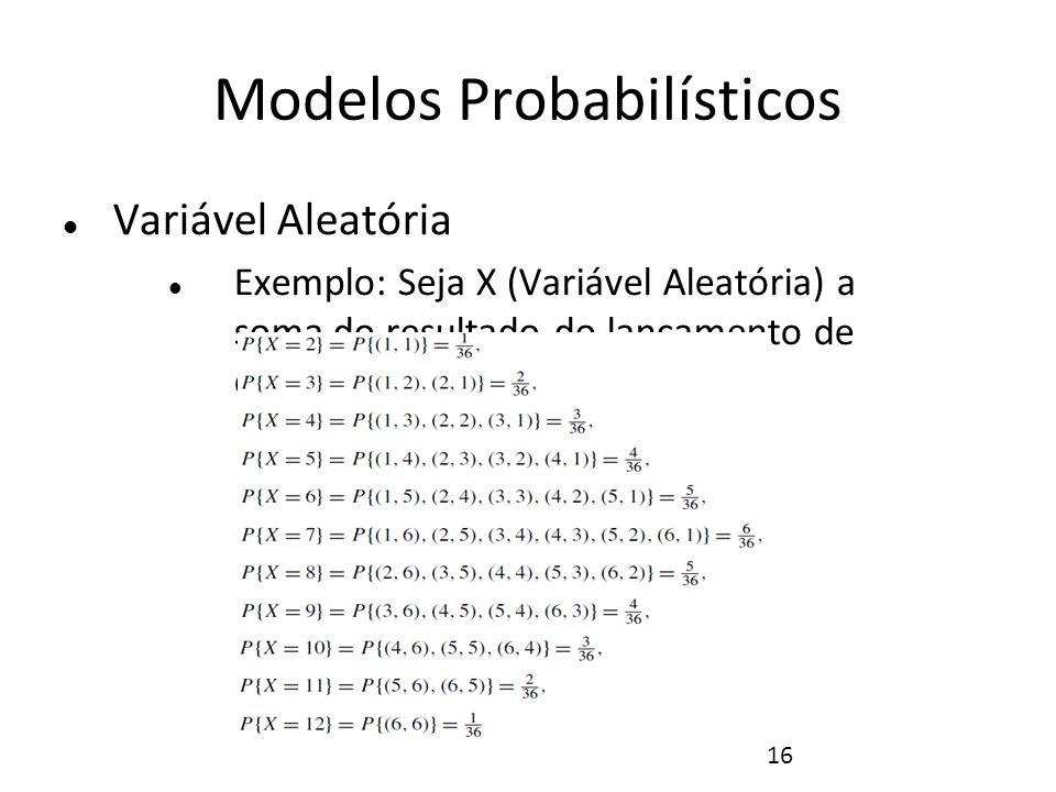 16 Modelos Probabilísticos Variável Aleatória Exemplo: Seja X (Variável Aleatória) a soma do resultado do lançamento de dois dados