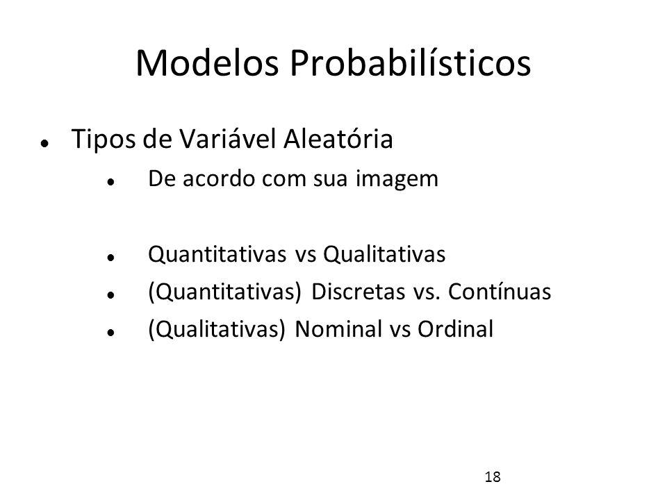 18 Modelos Probabilísticos Tipos de Variável Aleatória De acordo com sua imagem Quantitativas vs Qualitativas (Quantitativas) Discretas vs. Contínuas
