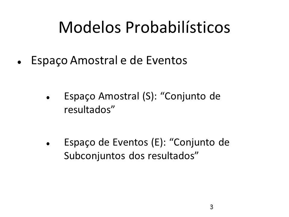 4 Modelos Probabilísticos Exemplos: Lançamento de uma moeda S={H,T}, E={Ø,{H},{T},{H,T}} Lançamento de um dado S={1,2,3,4,5,6} E={Ø,{1},{2},..{1,2},{1,3}...,{1,2,3},{1,2,4},...{1,2,3, 4},{1,2,3,5},..{1,2,3,4,5,6}}