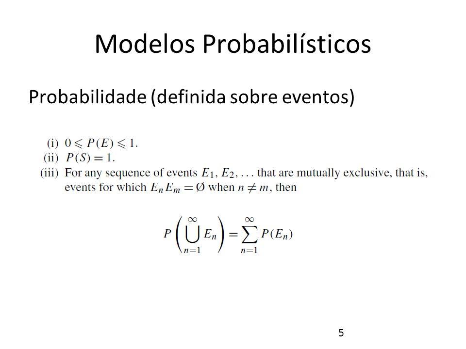 6 Modelos Probabilísticos Exemplos Experimento: Lançamento de Moeda i) P(Ø)=0, P({H})=0.5, P({T})=0.5, P({H,T})=1 ii) P({H,T})=1 iii) P({H}U{T})=P({H})+P({T})=0.5+0.5=1