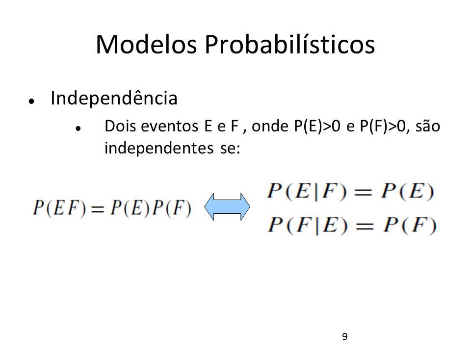 10 Modelos Probabilísticos Independência Lançamento de dois dados, com os eventos: E1: soma dos dados é 6 E2: soma dos dados é 7 F: o primeiro dados é 4 Eventos Independentes Eventos dependentes
