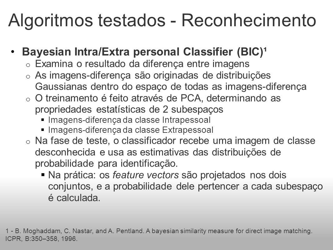 Algoritmos testados - Reconhecimento Bayesian Intra/Extra personal Classifier (BIC)¹ o Examina o resultado da diferença entre imagens o As imagens-diferença são originadas de distribuições Gaussianas dentro do espaço de todas as imagens-diferença o O treinamento é feito através de PCA, determinando as propriedades estatísticas de 2 subespaços Imagens-diferença da classe Intrapessoal Imagens-diferença da classe Extrapessoal o Na fase de teste, o classificador recebe uma imagem de classe desconhecida e usa as estimativas das distribuições de probabilidade para identificação.
