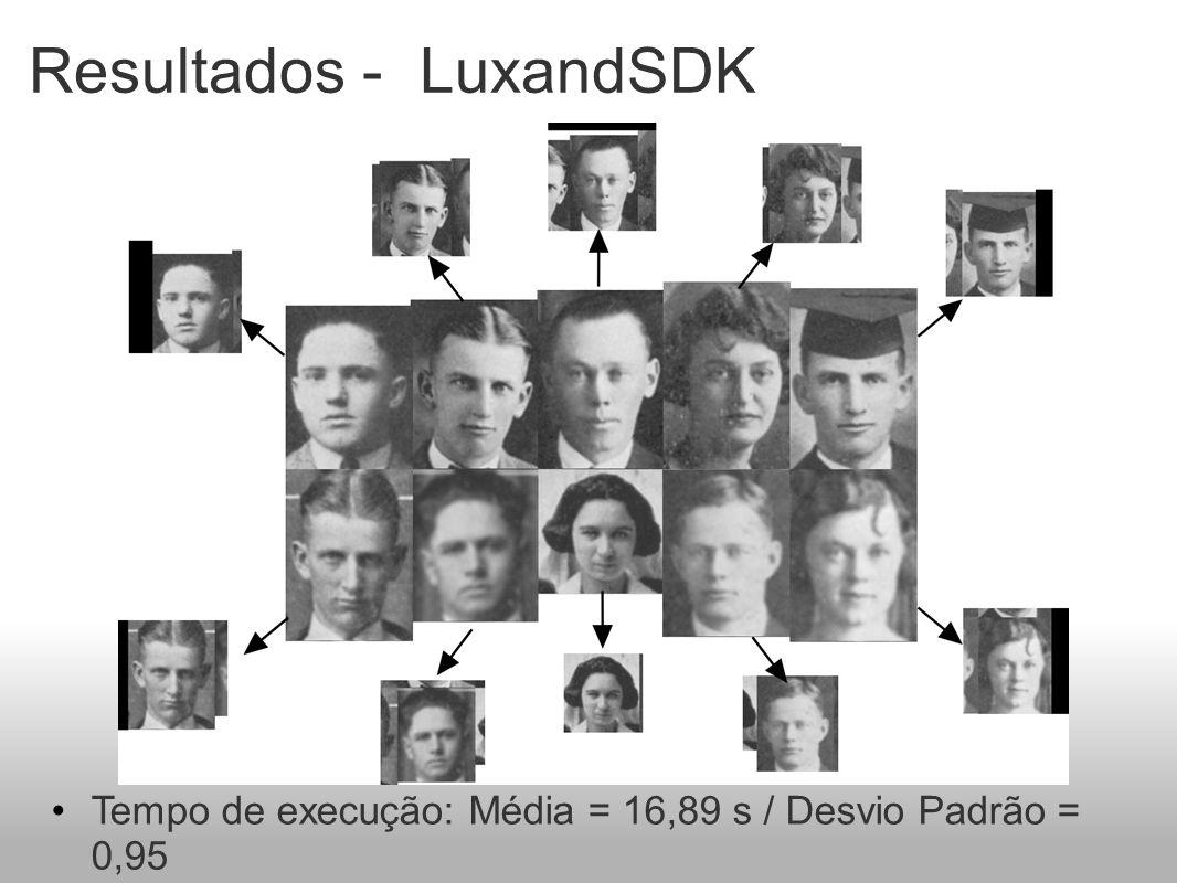 Resultados - LuxandSDK Tempo de execução: Média = 16,89 s / Desvio Padrão = 0,95