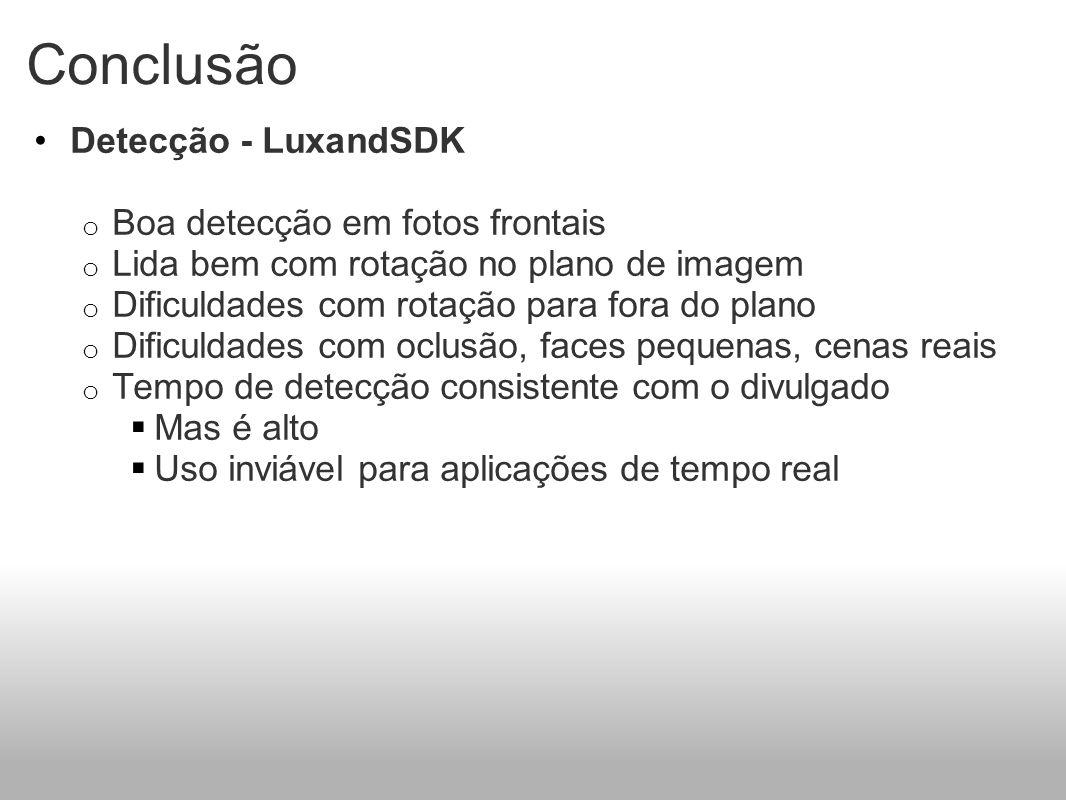 Conclusão Detecção - LuxandSDK o Boa detecção em fotos frontais o Lida bem com rotação no plano de imagem o Dificuldades com rotação para fora do plan