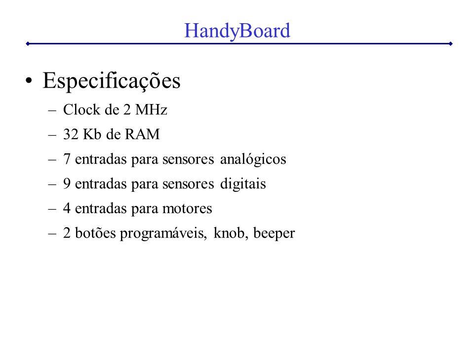 HandyBoard Especificações –Clock de 2 MHz –32 Kb de RAM –7 entradas para sensores analógicos –9 entradas para sensores digitais –4 entradas para motores –2 botões programáveis, knob, beeper