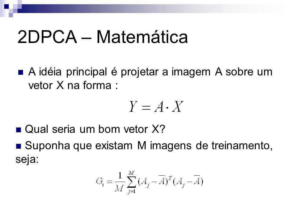 2DPCA – Matemática A idéia principal é projetar a imagem A sobre um vetor X na forma : Qual seria um bom vetor X.