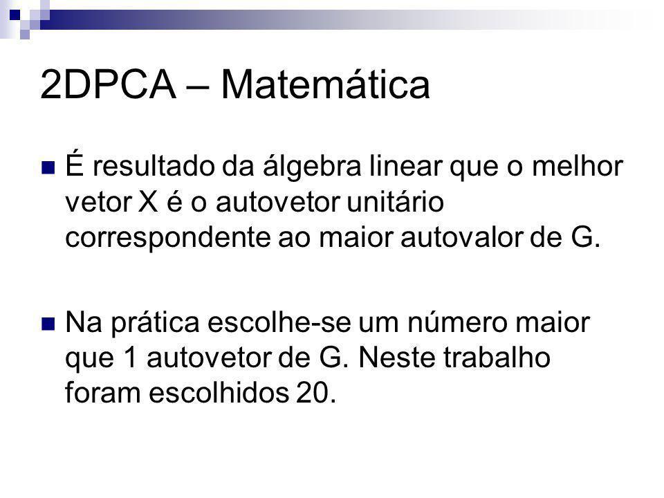 2DPCA – Matemática É resultado da álgebra linear que o melhor vetor X é o autovetor unitário correspondente ao maior autovalor de G.