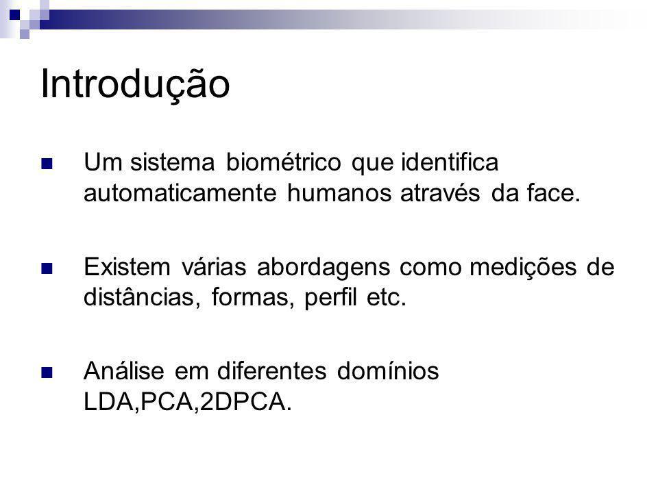 Introdução Um sistema biométrico que identifica automaticamente humanos através da face.