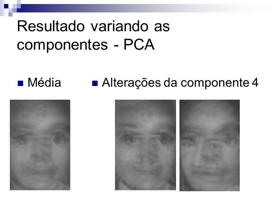 Resultado variando as componentes - PCA Média Alterações da componente 4