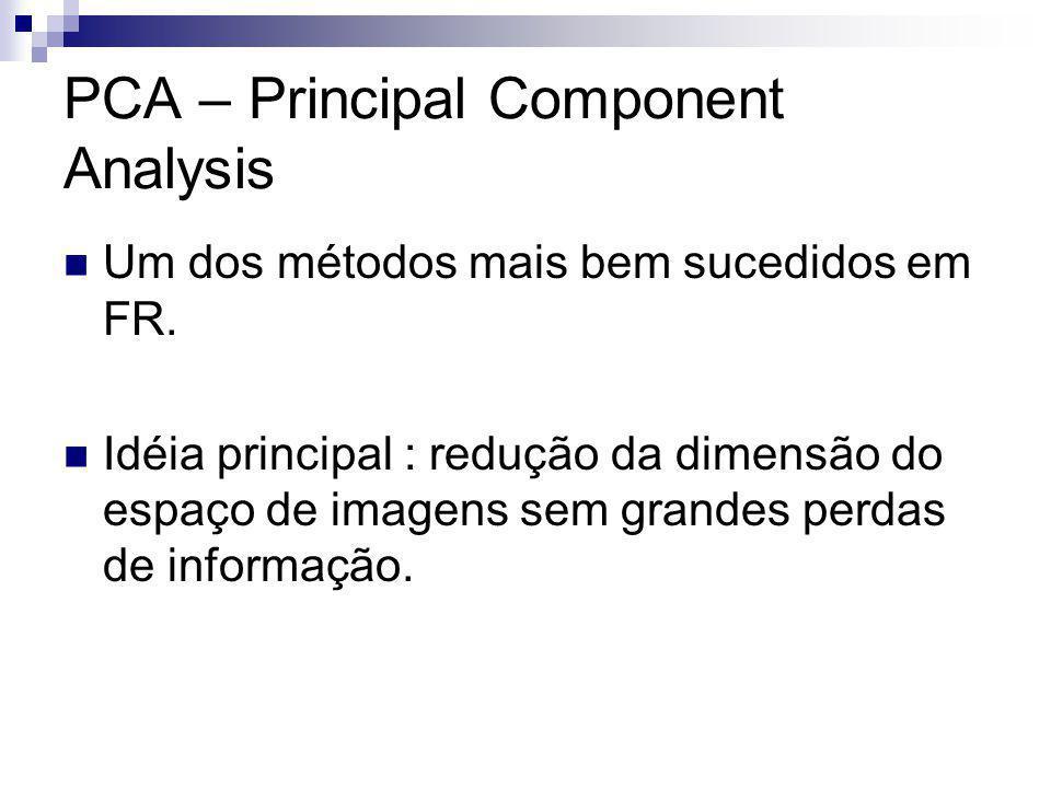 PCA – Principal Component Analysis Um dos métodos mais bem sucedidos em FR.