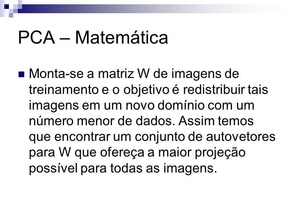 PCA – Matemática Monta-se a matriz W de imagens de treinamento e o objetivo é redistribuir tais imagens em um novo domínio com um número menor de dados.
