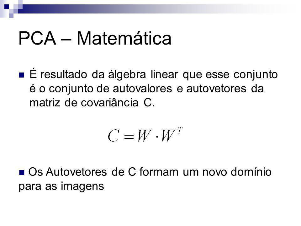 Resultados – 2DPCA Matemática Imagem original 200x300 – Matriz 200x20 Imagens de treinamento – 10 G = 200x200 – Mais fácil que PCA para cálculo de autovalores e autovetores.