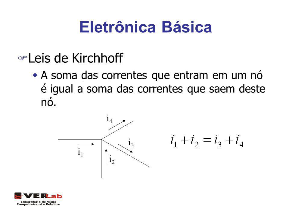 Eletrônica Básica F Leis de Kirchhoff wA soma das correntes que entram em um nó é igual a soma das correntes que saem deste nó. i1i1 i2i2 i3i3 i4i4