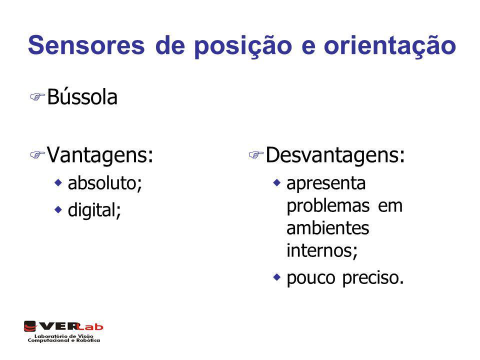 Sensores de posição e orientação F Bússola F Vantagens: wabsoluto; wdigital; F Desvantagens: wapresenta problemas em ambientes internos; wpouco precis