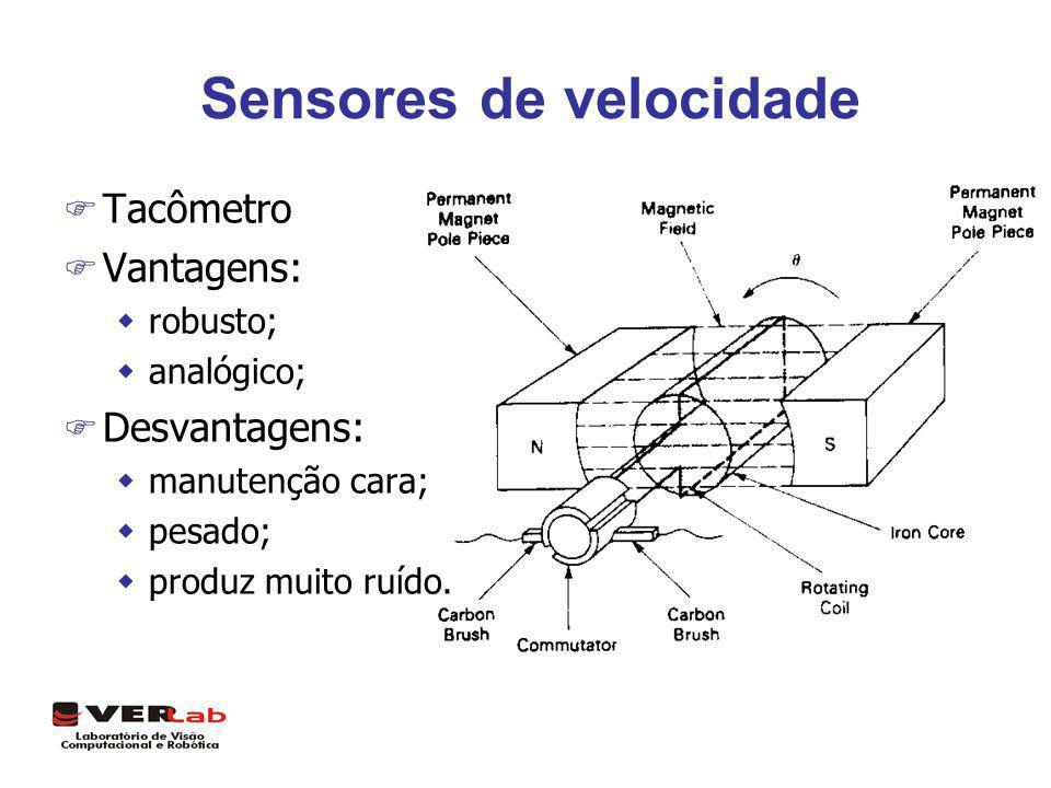 Sensores de velocidade F Tacômetro F Vantagens: wrobusto; wanalógico; F Desvantagens: wmanutenção cara; wpesado; wproduz muito ruído.