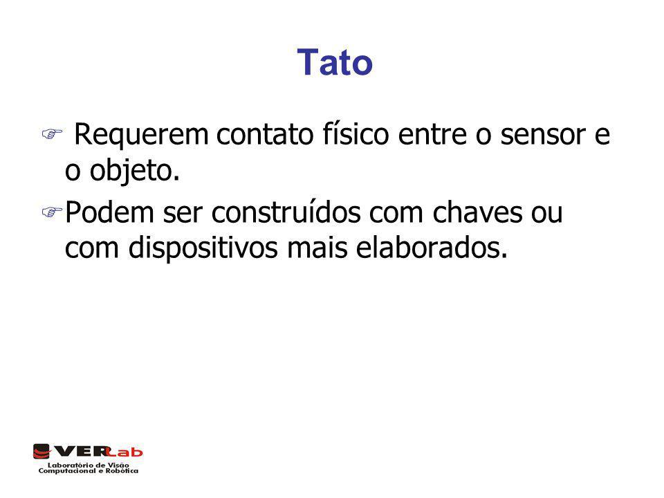 Tato F Requerem contato físico entre o sensor e o objeto. F Podem ser construídos com chaves ou com dispositivos mais elaborados.