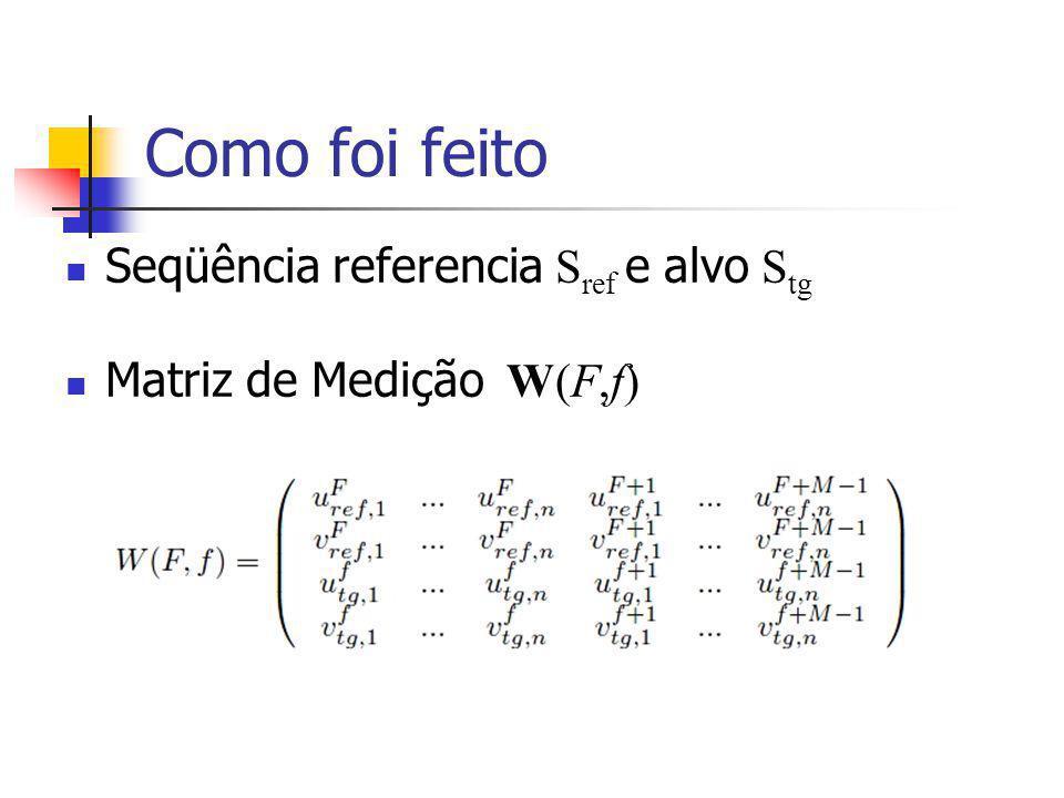 Como foi feito Seqüência referencia S ref e alvo S tg Matriz de Medição W(F,f)