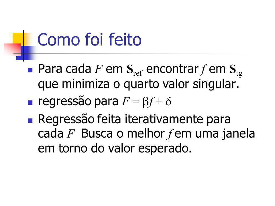 Como foi feito Para cada F em S ref encontrar f em S tg que minimiza o quarto valor singular.