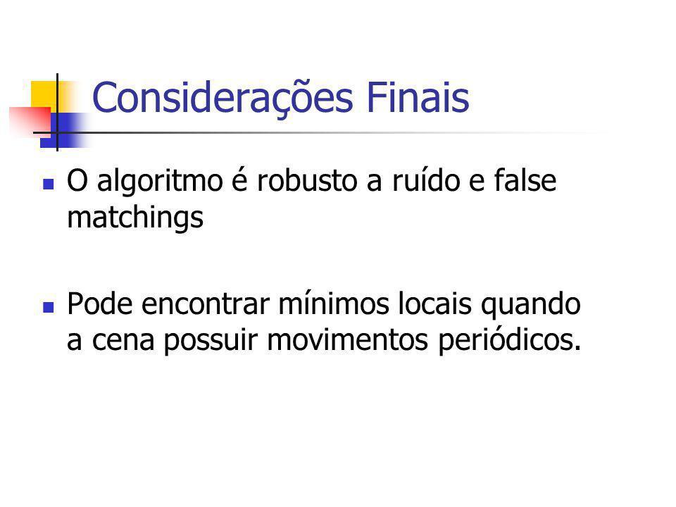 Considerações Finais O algoritmo é robusto a ruído e false matchings Pode encontrar mínimos locais quando a cena possuir movimentos periódicos.