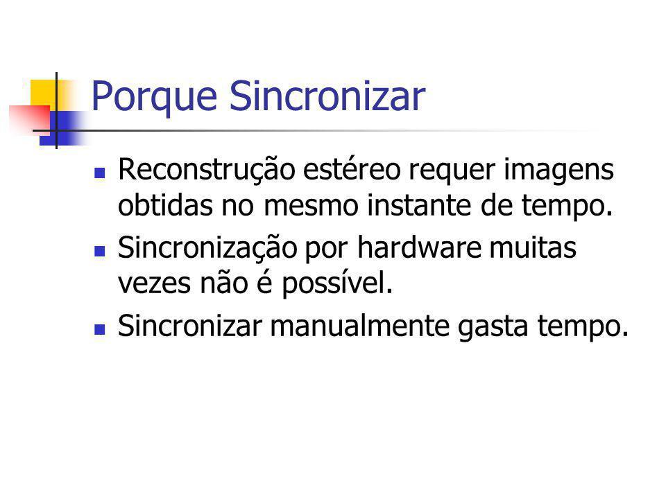 Porque Sincronizar Reconstrução estéreo requer imagens obtidas no mesmo instante de tempo.