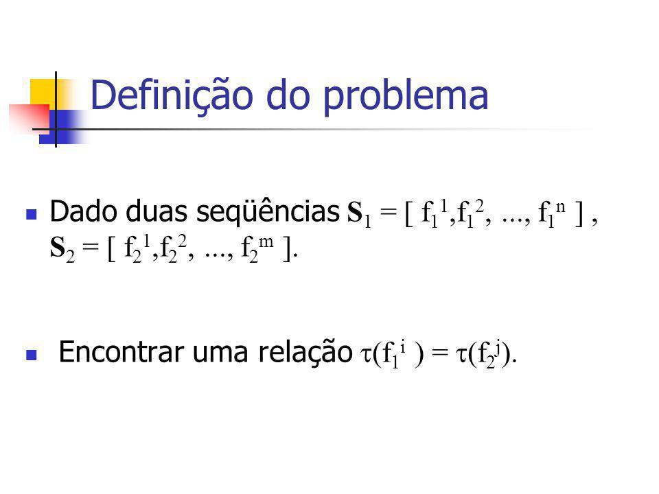Definição do problema Dado duas seqüências S 1 = [ f 1 1,f 1 2,..., f 1 n ], S 2 = [ f 2 1,f 2 2,..., f 2 m ].
