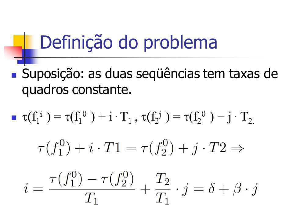 Definição do problema Suposição: as duas seqüências tem taxas de quadros constante.