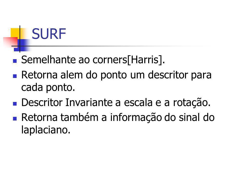 SURF Semelhante ao corners[Harris]. Retorna alem do ponto um descritor para cada ponto.