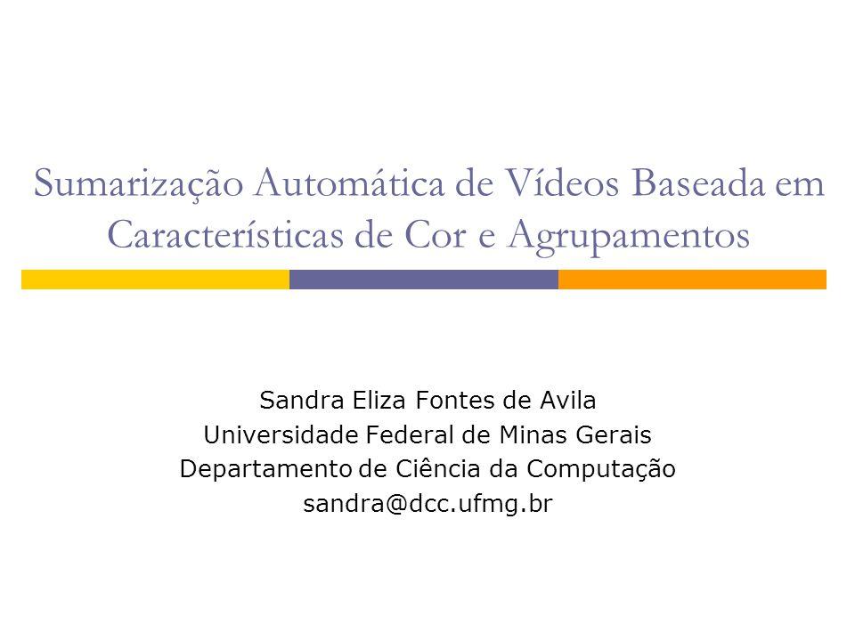 Sumarização Automática de Vídeos Baseada em Características de Cor e Agrupamentos Sandra Eliza Fontes de Avila Universidade Federal de Minas Gerais De