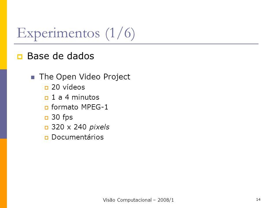 Visão Computacional – 2008/1 14 Experimentos (1/6) Base de dados The Open Video Project 20 vídeos 1 a 4 minutos formato MPEG-1 30 fps 320 x 240 pixels