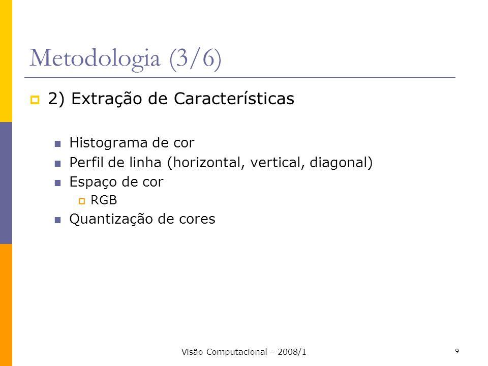 Visão Computacional – 2008/1 9 Metodologia (3/6) 2) Extração de Características Histograma de cor Perfil de linha (horizontal, vertical, diagonal) Esp