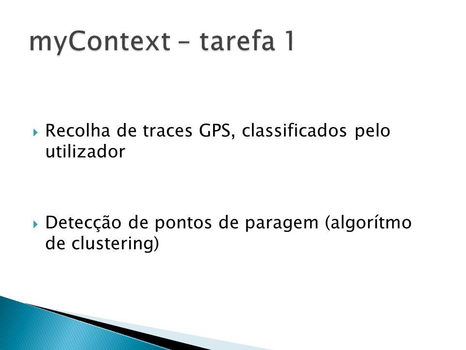 Recolha de traces GPS, classificados pelo utilizador Detecção de pontos de paragem (algorítmo de clustering)