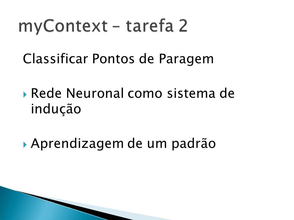 Classificar Pontos de Paragem Rede Neuronal como sistema de indução Aprendizagem de um padrão