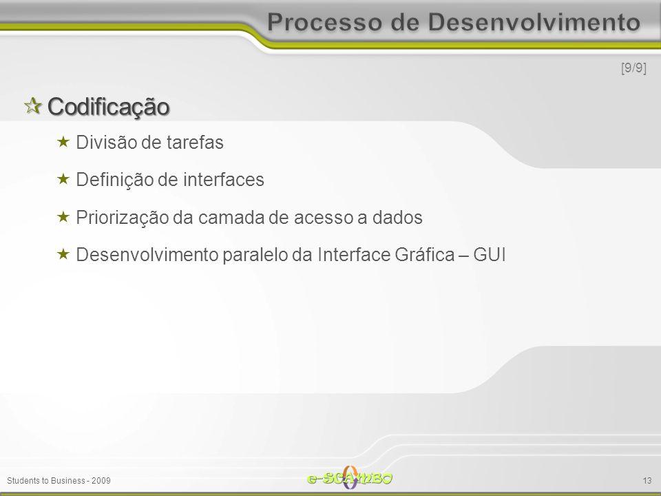 Students to Business - 2009 Codificação Codificação Divisão de tarefas Definição de interfaces Priorização da camada de acesso a dados Desenvolvimento paralelo da Interface Gráfica – GUI [9/9] 13