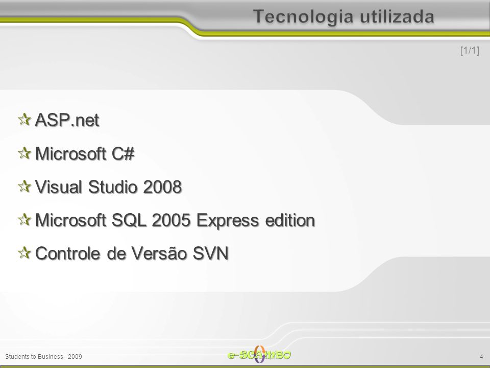 Students to Business - 2009 ASP.net ASP.net Microsoft C# Microsoft C# Visual Studio 2008 Visual Studio 2008 Microsoft SQL 2005 Express edition Microso