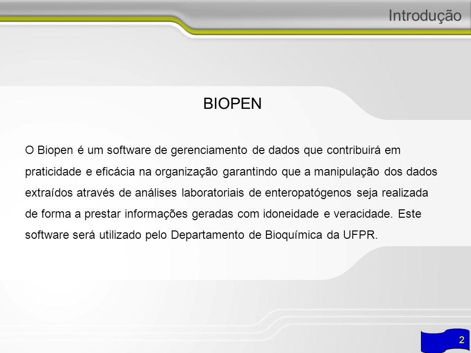 3 Introdução RELPEN é o sistema que utiliza dados de exames laboratoriais cadastrados no BIOPEN para realizar analises necessárias para gerar relatórios estatísticos dos dados.